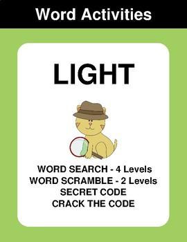 Light - Word Search, Word Scramble,  Secret Code,  Crack the Code