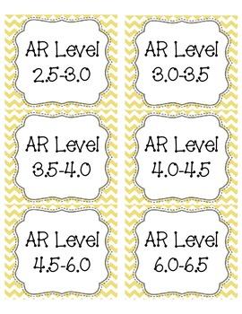 Light Yellow Chevron AR Book Bin Labels