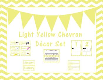 Light Yellow Chevron Classroom Decor Set