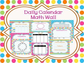 Light and Bright Calendar Math Focus Wall