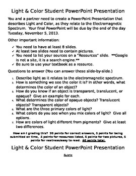 Light and Color PowerPoint - Student-Led Learning