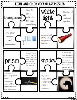Light and Color Word Work {Science Vocabulary Practice}