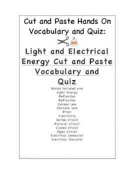 Light and Electrical Energy Cut and Paste Activity for Science Journal