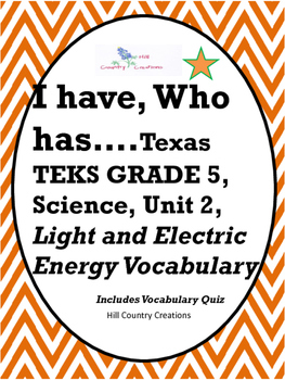 Light and Electrical Energy..I have, Who has Activity & Vocabulary Quiz