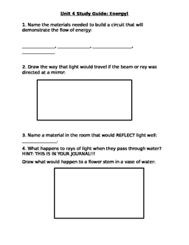 Light and Electrical energy study guide