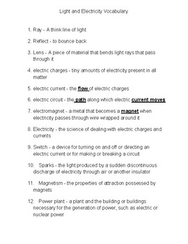 Light and Electricity Vocabulary