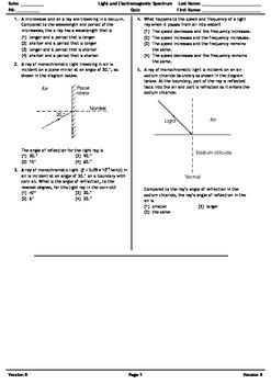 Light and Electromagnetic Spectrum Quiz B pdf