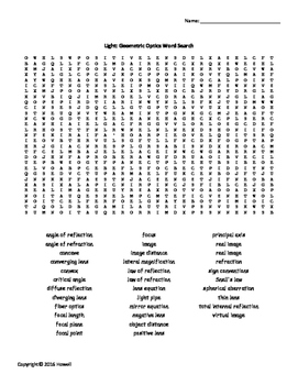 Light and Geometric Optics Vocab. Word Search for Physics or Physical Science