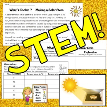 Light & Heat Energy Absorbtion Experiment Solar Oven STEM Activity for S'mores!