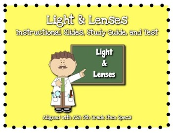 Light and Lenses (Concave & Convex) Instructional Slides, Study Guide, and Test
