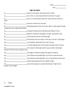 Light and Optics Quiz or Worksheet for Physical Science