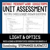 Light and Optics Unit Exam | Editable | Printable | Google Forms