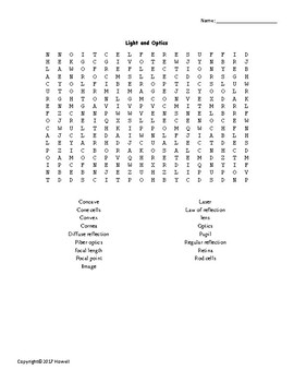 Light and Optics Vocabulary Word Search for Physical Science