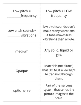 Light and Sound Flashcards