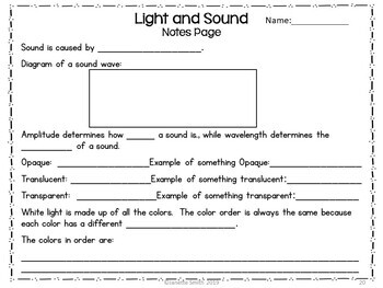 Light and Sound PowerPoint and Notes
