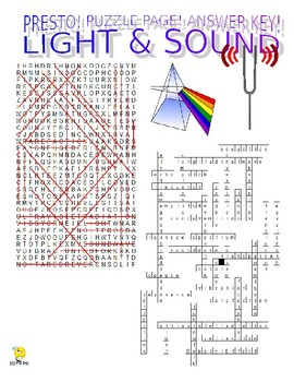 Light and Sound Puzzle Page (Wordsearch and Criss-Cross)