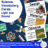 Light and Sound Science Vocabulary Cards (Large)