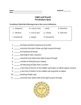 Light and Sound Vocabulary Quiz