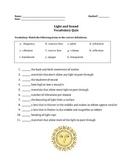Light and Sound Vocabulary Quiz