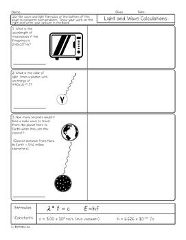 Light and Wave Calculations Chemistry Homework Worksheet