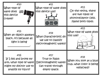 Light and the Electromagnetic Spectrum Task Cards