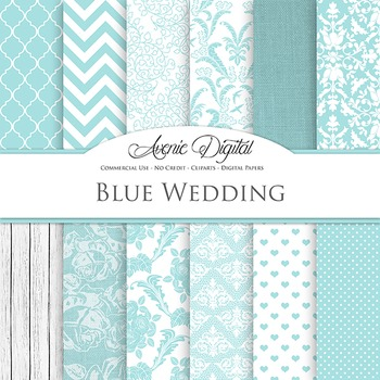 Light blue Wedding Digital Paper patterns - bridal sky blu