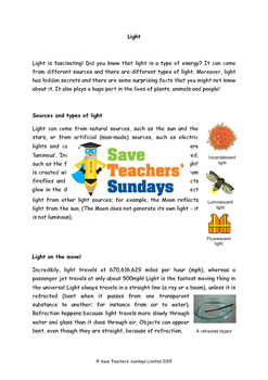 Light comprehension (2 lessons) Lesson plans, Questions and Answer frames