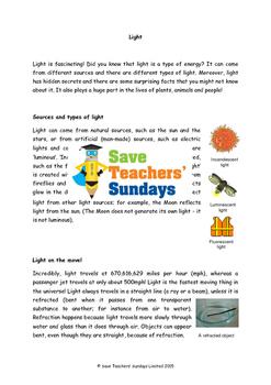 Light comprehension (2 lessons) Lesson plans, Questions an