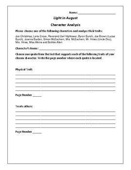 Light in August - Character Analysis Activity - William Faulkner