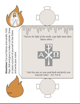 Light of the World Candle Paper Craft Baptism Confirmation Christian Catholic