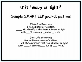 Light or Heavy? Visual Task Cards for Special Education / Autism