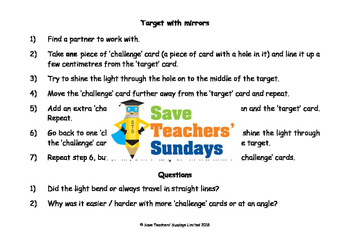 Light science investigation activities Lesson plan, Worksheets and More