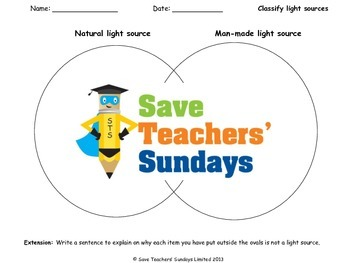 Light sources - Natural or man-made Lesson plan and Worksheets (Venn diagram)