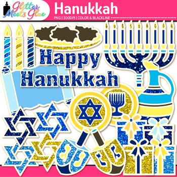 Hanukkah Clip Art {Includes Dreidel, Menorah, Star of David, for Jewish Holiday}