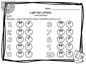 Light the Letters:  LOW PREP Hanukkah Themed Write the Room