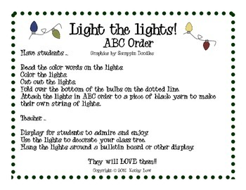 Light the Lights...Christmas Lights--ABC Order