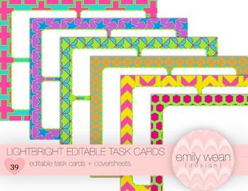 LightBright Editable Task Cards