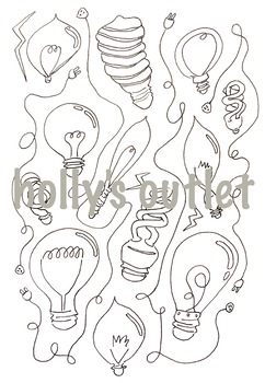 Lightbulb Electricity Color Sheet // Lights, Energy, Science, Chemistry, Clipart