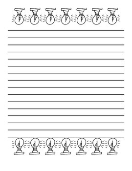 Lightbulb Stationary/Writing Paper: Blank, Spanish, English