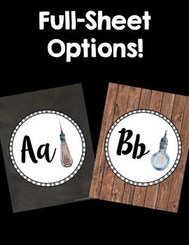 Lightbulb Word Wall Letter Headers! Industrial Wood Style!
