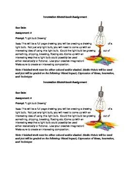 Lightbulb Drawing Sketchbook Assignment