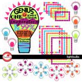 Lightbulbs Light Bulbs Thomas Edison Clipart, Frames & Labels by Poppydreamz