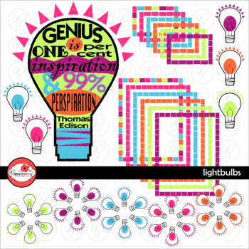 Lightbulbs Light Bulbs Thomas Edison Clipart, Frames & Lab