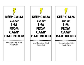 Lightening Thief Bookmarks