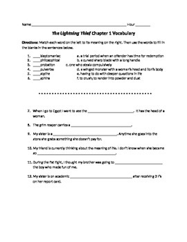 Lightening Thief Chapter 1 Vocabulary Worksheet