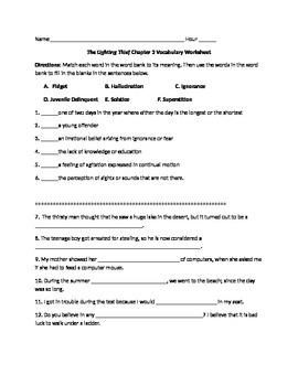 Lightening Thief Chapter 2 Vocabulary Worksheet