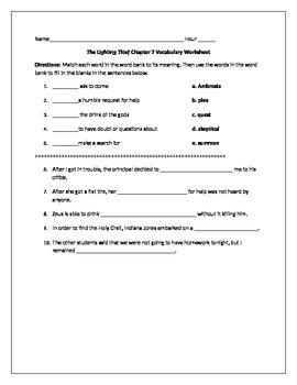 Lightening Thief Chapter 7 Vocabulary Worksheet