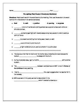 Lightening Thief Chapter 8 Vocabulary Worksheet