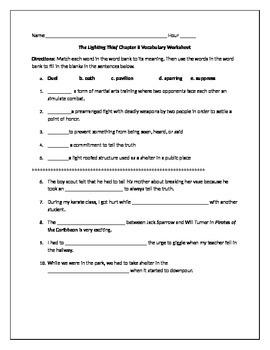 Lightening Thief Chapter 8 Vocabulary Worksheet