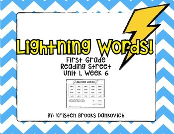 Lightning Words (First Grade Reading Street Unit 1.6)